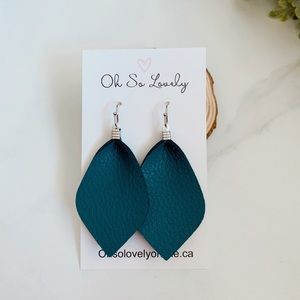 Teal leather earrings